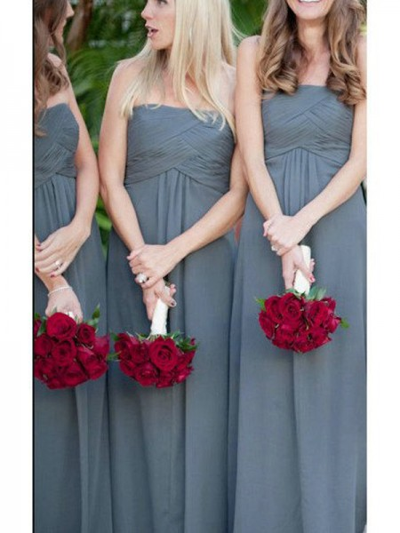 A-Line/Princess Strapless Ruched Floor-Length Chiffon Bridesmaid Dress