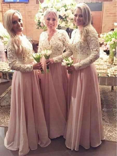 A-Line/Princess Long Sleeves V-neck Floor-Length Lace Chiffon Bridesmaid Dress