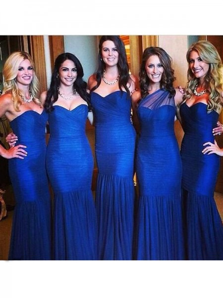 Trumpet/Mermaid Sweetheart Floor-Length Ruched Tulle Bridesmaid Dress