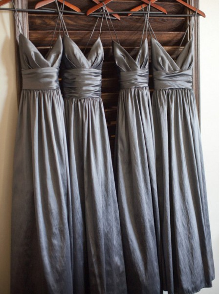 A-Line/Princess Spaghetti Straps Floor-Length Taffeta Bridesmaid Dress