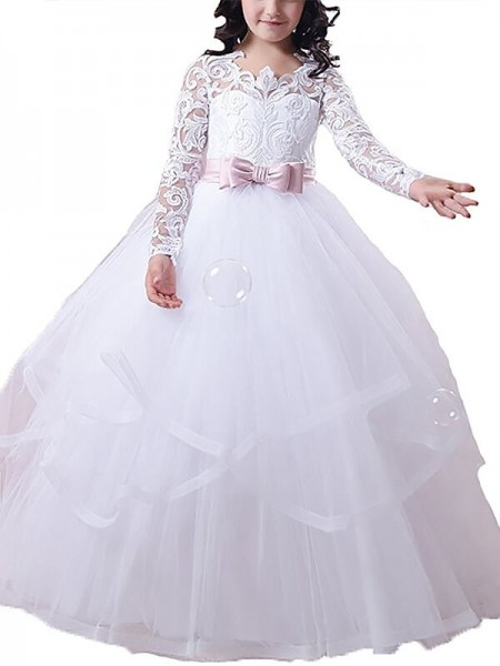 Ball Gown Jewel Floor-Length Tulle Flower Girl Dress with Lace