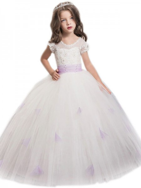Ball Gown Jewel Sash/Ribbon/Belt Floor-Length Tulle Flower Girl Dress
