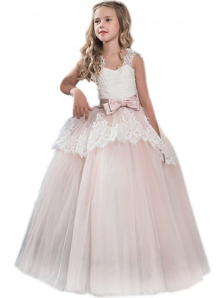 Ball Gown Sweetheart Bowknot Floor-Length Tulle Flower Girl Dress