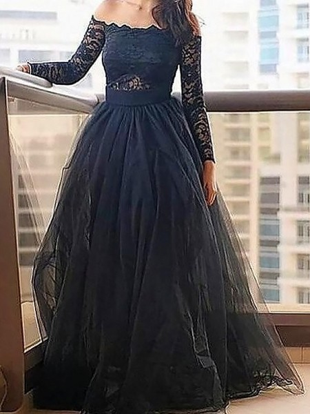 A-Line/Princess Off-the-Shoulder Long Sleeves Lace Floor-Length Tulle Dress