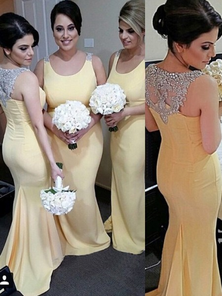 Trumpet/Mermaid Scoop Floor-Length Satin Bridesmaid Dress