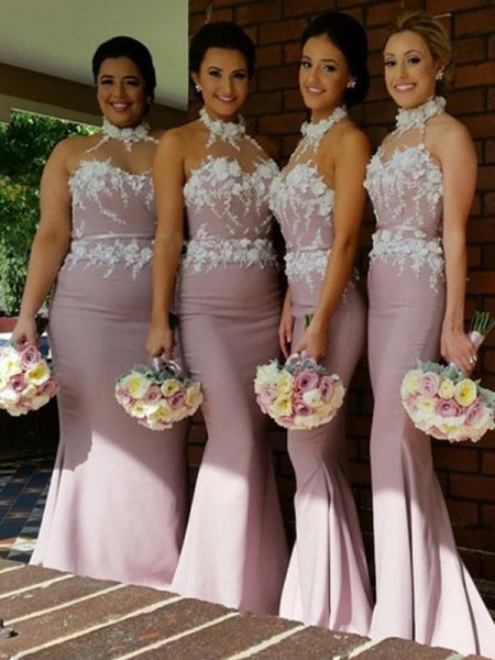 Trumpet/Mermaid Halter Satin Floor-Length Bridesmaid Dress