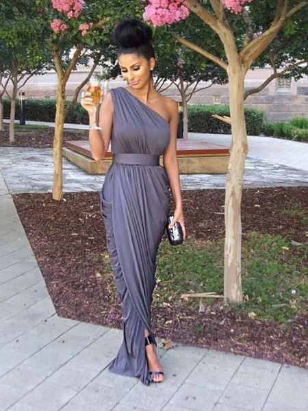 Sheath/Column One-Shoulder Floor-Length Jersey Bridesmaid Dress
