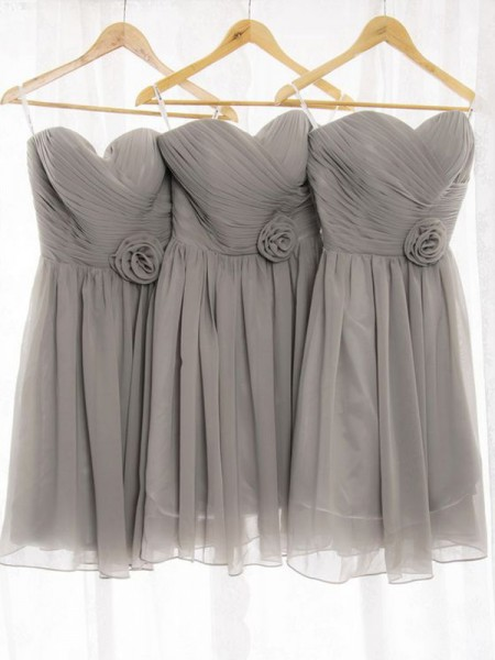 A-Line/Princess Sweetheart Chiffon Short/Mini Bridesmaid Dress
