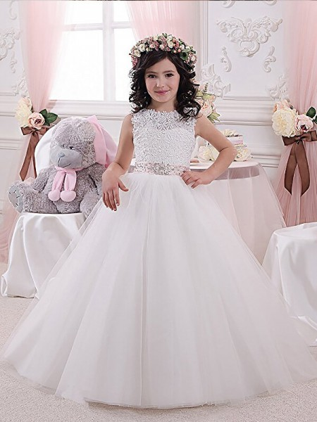Ball Gown Scoop Sash/Ribbon/Belt Tulle Floor-Length Flower Girl Dress