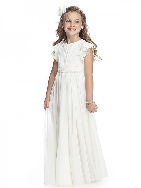 A-line/Princess Scoop Chiffon Floor-Length Flower Girl Dress