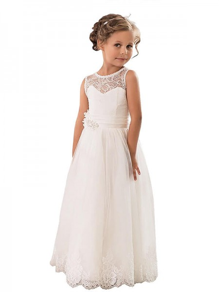 A-line/Princess Scoop Tulle Floor-Length Flower Girl Dress
