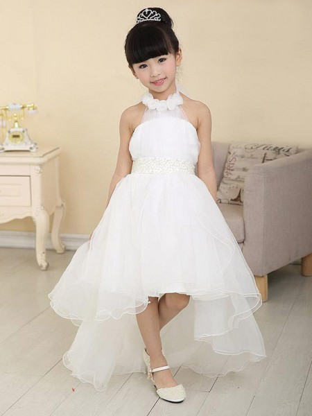 A-line/Princess High Neck Beading Flower Girl Dress with Organza