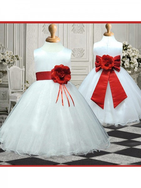 A-line/Princess Sleeveless Scoop Hand-made Flower Long Organza Flower Girl Dresses
