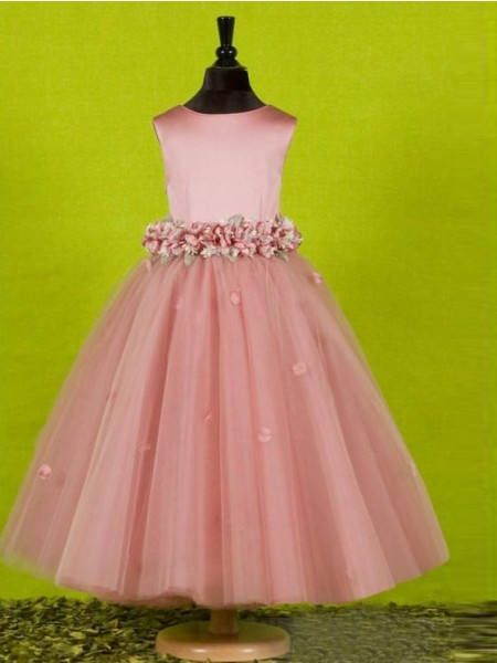 A-line/Princess Sleeveless Scoop Bowknot Long Tulle Flower Girl Dresses