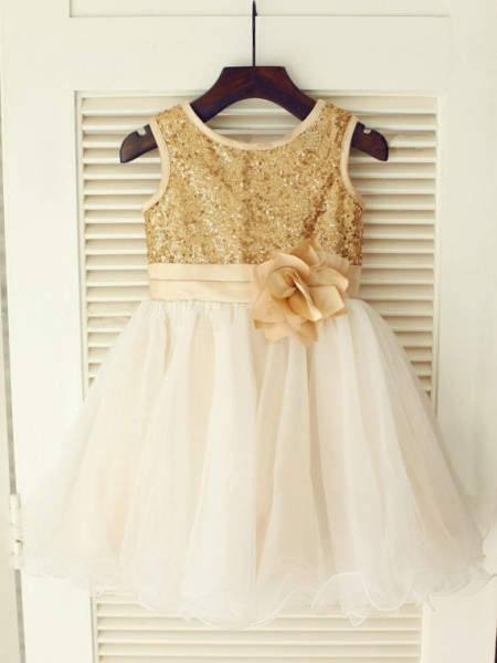 A-line/Princess Sleeveless Scoop Sequin Long Organza Dresses