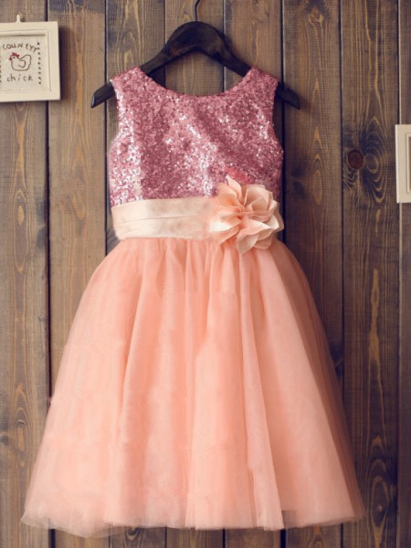 A-line/Princess Sleeveless Scoop Sequin Long Tulle Dresses