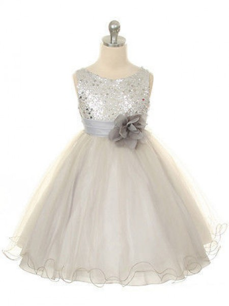 Ball Gown Jewel Sleeveless Hand-Made Flower Long Organza Dresses